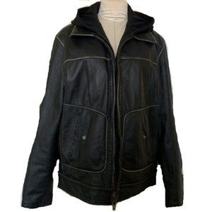 Guess Men's Distressed Leather Jacket - Size XL